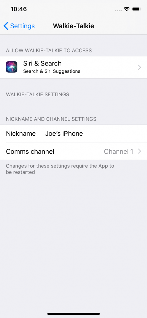 Walkie Talkie settings page where you can change your Nickname and Channel